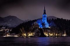 Magical night at lake Bled (marko.erman) Tags: winter light panorama lake mountains alps church water beautiful night landscape island sony mary calm slovenia bled romantic serene slovenija assumption jezero