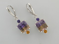Ametrine laser cut SS earrings