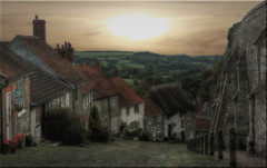 Gold Hill [Explored 10/10/2015] (Nickerzzzzz - Thanks for stopping by :)) Tags: ©nickudy goldhill dorset shaftesbury landscape sky photograph clouds sunlite hovis advert cobbled boyonbike hovishill ridleyscott painterly explored