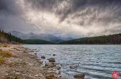 Moody mountains (Kasia Sokulska (KasiaBasic)) Tags: sky lake canada mountains fall water clouds landscape rockies rocks shore alberta jaspernp patricialake