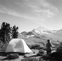 To the West...... (Aaron Bieleck) Tags: 6x6 film sarah analog square landscape tent 120film pacificnorthwest pnw rei mtbaker hasselblad500cm mtbakerwilderness filmisnotdead waistlevelviewfinder wlvf