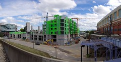 Aqua at the Levee (Travis Estell) Tags: panorama crane kentucky newport newportonthelevee constructioncrane towercrane northernkentucky nky