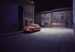 Cold Winters Sunday Night 1965. (ManOfYorkshire) Tags: road winter light cold classic scale car night french town model quiet citroen ds junction backstreet kits shops works diorama 1965 diecast 176 oogauge skelley oxforddiecast