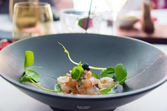 Scarlet prawns, buckwheat, buttermilk, black sesame. (God_speed) Tags: food modern point aqua dish harbour north sydney australian plate prawns gourmet seafood dining cbd milsons foodie epicurean kirribilli plateup epicurie dishedup