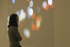 Amid the bokeh (Read2me) Tags: she woman art museum female mfa gallery candid stranger ge pree cye thechallengefactory