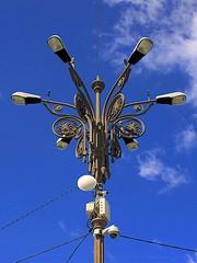 Street Lamp (oxfordblues84) Tags: blue light sky clouds europe streetlamp bluesky romania bucharest vikingrivercruise palaceoftheparliament bucurești bucharestromania municipalityofbucharest decorativestreetlamp passagetoeasterneurope municipiulbucurești buchareststreetlamp