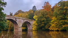 Prebends bridge,Durham (Tractorboy1981) Tags: prebends bridge durham autumn fall landscape vivid colour golden brown leaves river wear england uk jmw turner clouds d7100 bank ngc