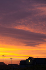 A Fire in the sky.... 40/52 (Mire ) Tags: fierysky redsky orangesky silhouettes silhouette house electricitypoles