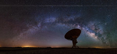 Milky way and big antenna, telescope, panorama (wisanuboonrawd) Tags: america ariglow astronomy astrophotography communication connect contact core dark earth galactic galaxy gas landscape light longexposure loving milky nebula newmexico night nightscape observe pollution powerful radar rail receiver science sign signal sky space star starry station structure technology travel verylargearray way panorama panoramic