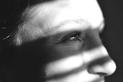 Looking for. (ramirofmunicoy) Tags: whiteandblack blancoynegro bw bn blackandwhite 50mm f18 18 nikonuser nikon woman retrato portrait eyes miradas mirada sombras persianas young girl d5100 argentina buenosaires caballito caba