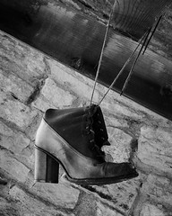 """Dangling"" (D A Baker) Tags: shoe boot heel dangle dangling lace bootlace shoelace cabin beam stone fujifilm x100s wabash county indiana"