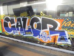 062 (en-ri) Tags: calor zaun 012k ocr marla 2016 bianco blu arancione giallo train torino graffiti writing