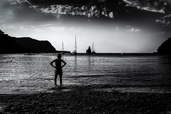 the bay view (sonofphotography) Tags: sonofphotography worldthroughmyeyes street art portrait landscape available light outdoor fashion bw blackwhite blackandwhite leicam240 summilux25mm14 mannequin ibiza bay beach sea clouds shadow