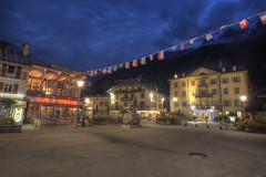 Chamonix by night [FR] (ta92310) Tags: travel hdr europe savoie hautesavoie 74 chamonix montblanc night nuit bluehour downtown centreville arve nuage cloud architecture casino