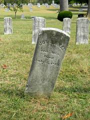 Stonewall Confederate Cemetery- Jos E (?) Boles (?) Mississippi Died July 3 18(?) (Photo Squirrel) Tags: tombestone grave confederate civilwar headstone leaning crooked gravestone cemetery mississippi virginia stonewallconfederatecemetery winchesterva