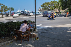 Street Painter (lGBSl) Tags: moped scooter painter greek street island port greece rhodes mandraki painting harbour
