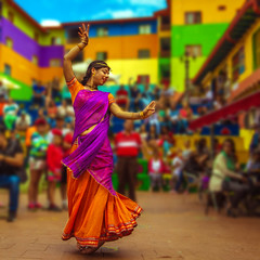 Bailarina (Juan Diego Rivas) Tags: dance dancing dancer bailarina baile india indian colombi colombia colombiana music retrato portrait color colorful bokeh travel travelpictures canon1635f28 canon canon6d guatape antioquia viaje falda skirt culture cultura fiesta festival festividad urban urbanart performance street calle show urbano party town house houses movement