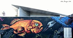 Fish and the Heron Meet. (mike 42) Tags: heron fish mural confrontation napier hawkes bay new zealand