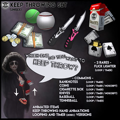[Since1975] Keep throwing set ([ Since 1975 ]) Tags: secondlife second life sl original mesh new gacha set tgg since1975 keepthrowing keep throw throwing flicklighter flick lighter cigarettes box baseball tennisball coin coins dollar banknotes knives animated