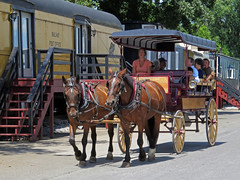 Buggy Ride (Multielvi) Tags: strasburg pennsylvania pa lancaster county red caboose motel horse cart buggy people