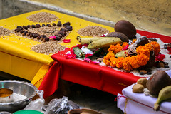 Offerings for Hindu prayer in a house, Jaisalmer, India (travelingmipo) Tags: travel photo india asia     rajasthan   goldencity  hindu prayer offering devotion    ritual  house jaisalmer