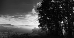 A Depressed Mind... (knoxnc) Tags: haze trees sunrise nikon fog sunrays nature morning mountains outdoor sunlight shadows blackandwhite fall clouds
