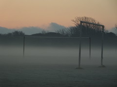 Mist rising from a frosty football field at dawn... at the end of my street and on the way to work.... (Sue - happy sparrow) Tags: sunrise dawn frost football footballpitch goalposts portland dorset