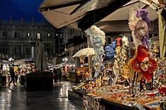 Venetian masks being sold in Verona (jujemisa) Tags: italy verona culture venetia venetian mask masks night market nikon nikond5200