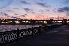 Russia. Moscow. Novospassky Bridge. (Yuri Degtyarev) Tags: russia moscow novospassky bridge morning clouds sky skyline river water embankment dawn            leica x2 capital cityscape ngc