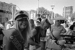 Hello Sailor (Shot In The Street) Tags: streetphotography bride street party mono blonde beer smile hen candid bw female woman blackandwhite black monochrome outside bristol white leicam6ttl ilfordhp5 leicam6 ilford film hp5 analogue m6