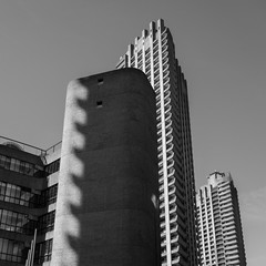 Balcony shadows (Spannarama) Tags: light sunlight sunshine shadows balconies tower towerblock concrete barbican london uk lookingup blackandwhite square brutalist architecture