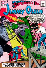 Superman's Pal Jimmy Olsen #84 (1965), cover by Curt Swan and George Klein (Tom Simpson) Tags: supermanspaljimmyolsen 1965 cover curtswan georgeklein jimmyolsen godzilla kingkong kaiju superman 1960s comics comicbook illustration art