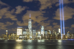 911 Tribute in lights (Arun Sundar) Tags: new york city nyc tower skyline lights freedom manhattan 911 wtc hudson tribute arun sundar