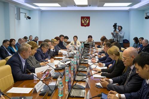 Расширенное заседание комитета СФ по социальной политике с участием министра труда и социальной защиты РФ М. Топилина