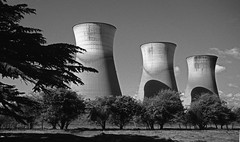 Cooling Towers, Willington Power Station (robmcrorie) Tags: leica white black film monochrome station 35mm power derbyshire towers plus m2 ilford fp4 cooling willington