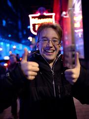Tom Scott (Ian Muttoo) Tags: dsc78231edit toronto ontario canada gimp ufraw masseyhall chrishadfield generator tomscott portrait night thumbsup