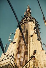 Empire State Building peak (eatmymoto) Tags: city roof summer sky urban usa newyork hot rooftop america skyscraper big high top manhattan postcard peak 1999 empirestatebuilding independenceday 30s summer1999