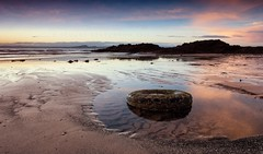 Pettycur (50/50) (Stuart Stevenson) Tags: uk sky seascape reflection beach sunrise photography scotland rocks fife tyre pinks eastcoast pettycur clydevalley stuartstevenson wwwzerogravitymeuk