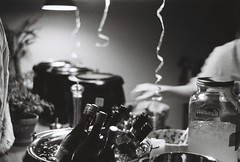Helen's Birthday (william Philip Kirk) Tags: leica family friends party people food monochrome museum dinner sushi fun restaurant evening hands wine drink warmth rangefinder praha birthdayparty helen alcohol welcome waiter leicam2 icebucket