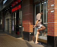 JiningDongLu_onelegstanding (Charles R. Yang) Tags: shanghai streetphotography oneleg feet onelegstanding standing china window