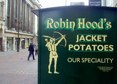Get Robin Hood spuds in Nottingham (Tony Worrall) Tags: england northern uk update place location north visit area county attraction open stream tour country midlands notts nottingham central van urban robinhood jacket potato buy sell food words written legend get archer