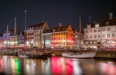 Nyhavn (karinavera) Tags: travel nikond5300 port denmark night copenhagen urban street water nyhavn cityscape longexposure colorful