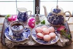 Tea & Home Made Macarons. (memoryweaver) Tags: highkey flowers tray dainty stilllife memoryweaver willowpattern teapot cup china blueandwhite cups tea macaroon macaron