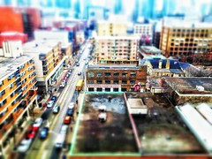 Embrace This Space (bansalharsh) Tags: embrace this space toronto downtown ocad college school rooftops roof tilt shift city lines pattern blur colors texture sharp buildings cars street