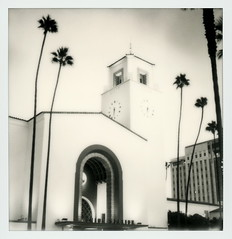 Union Station 11 (tobysx70) Tags: the impossible project tip polaroid slr680 frankenroid sx70 door rollers bw blackandwhite film for 600 type cameras instant impossaroid roidweek roid week polaroidweek fall autumn october 2016 reject union station alameda street dtla downtown los angeles la california ca amtrak metro train rail railway railroad sign clock tower palms palm tree ciclavia polawalk 101616 toby hancock photography