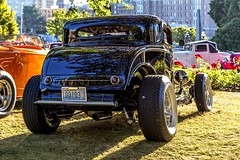 Three Window (Paul Rioux) Tags: 2016 northwest deuce days 2016northwestdeucedays carshow showandshine custom customized modified paint chrome oldschool bc victoria transportation vehicle automobile auto car restored performance prioux outdoor ford threewindow coupe black 1932 hot street rod run