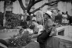 A la Espera (sierramarcos14695) Tags: quetzaltenango guatemala feria sony a58 explorando ciudad cotidianidades retato monocromatico blanco negro parque centroamerica central xela persona hombre sombrero esperando fuente sentado