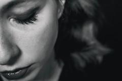 Self-portrait (alessandra.butti) Tags: self autoscatto person blackandwhite portrait pale bianco e nero indoor eyes closed human nikon d3200 35mm face viso espressione occhi chiusi