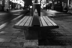 Benched (Stephen J Long) Tags: preston prestonatnight blackandwhite blackwhite monochrome night nightime urban streets winter xmas england lancashire northwestengland cold