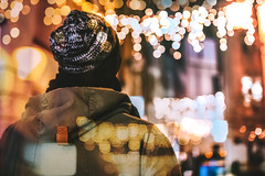 Christmas Season Has Started (thethomsn) Tags: christmasseason doubleexposure lights street guy back jacket germany colourful bokeh beaniecap winter glimmer 30mm thethomsn availablelight